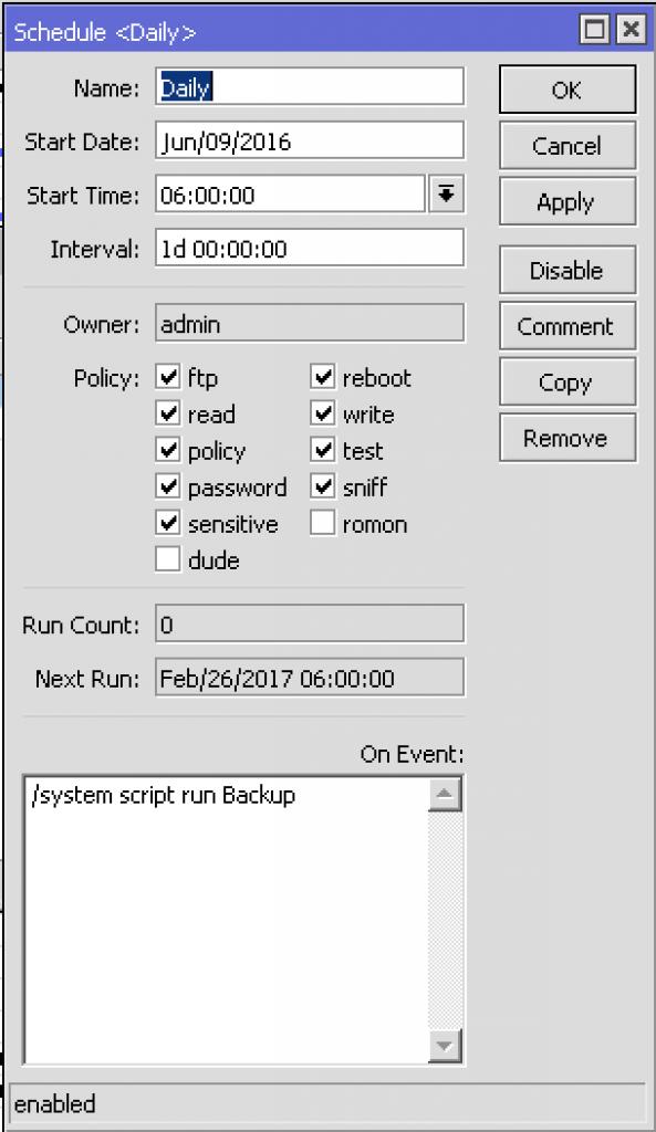 MikroTik scheduler