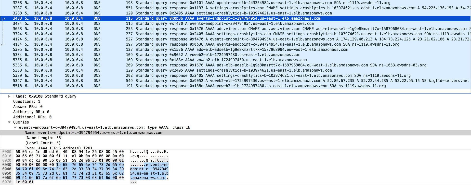 Viber DNS запросы в Wireshark